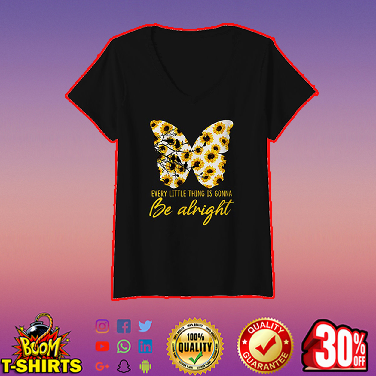 Sunflower butterfly every little thing is gonna be alright v-neck