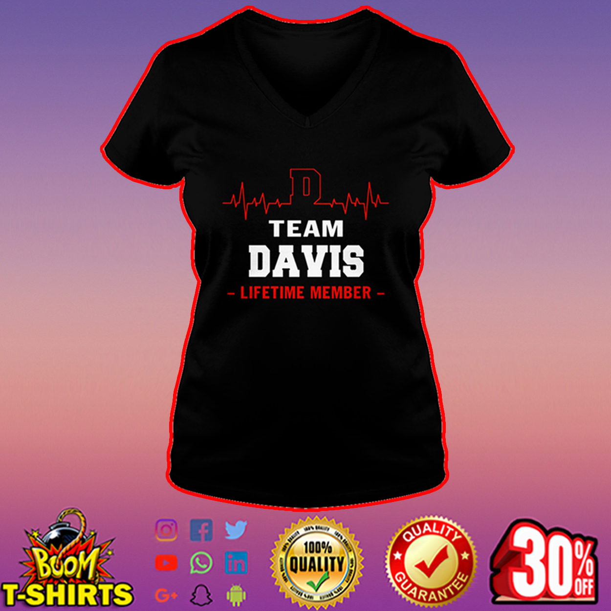 Team Davis lifetime member v-neck