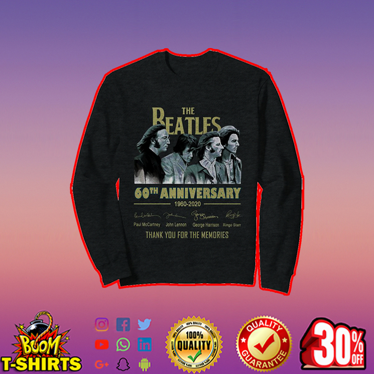 The Beatles 60th anniversary thank you for the memories sweatshirt