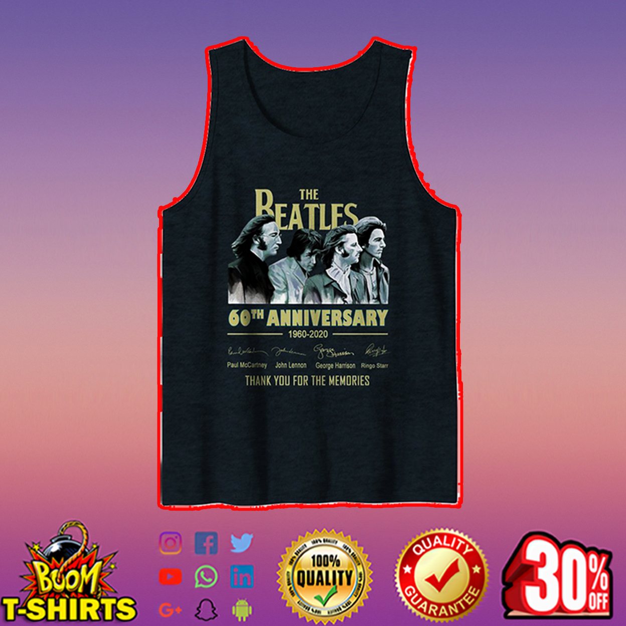 The Beatles 60th anniversary thank you for the memories tank top