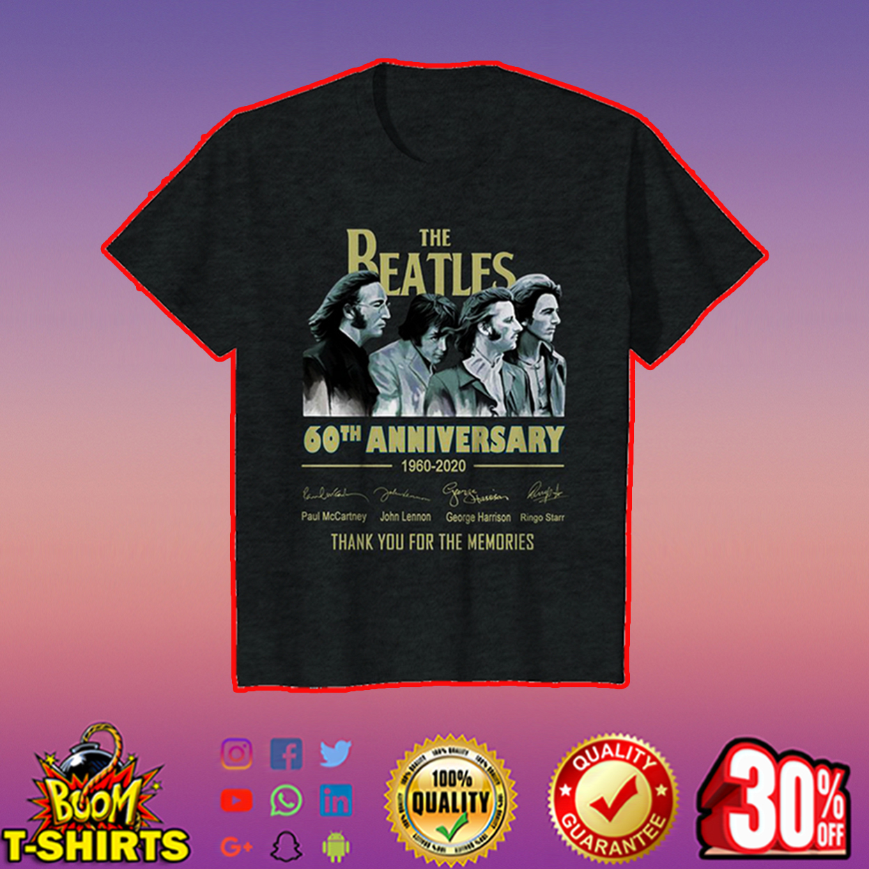 The Beatles 60th anniversary thank you for the memories youth tee