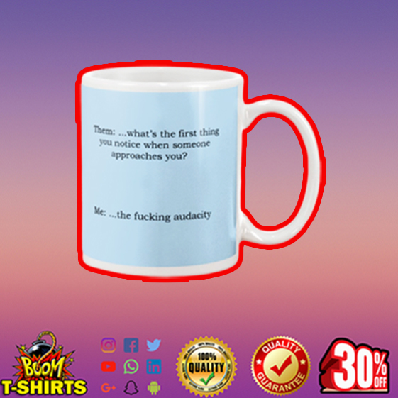 Them what's the first thing you notice mug - blue