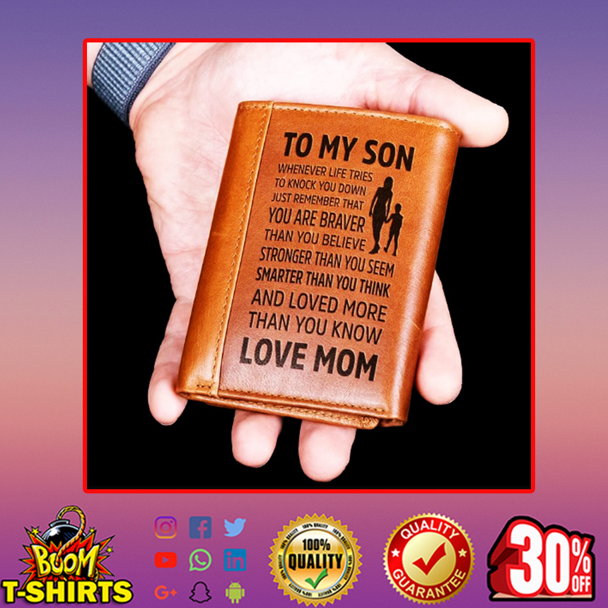 To my son love mom leather wallet