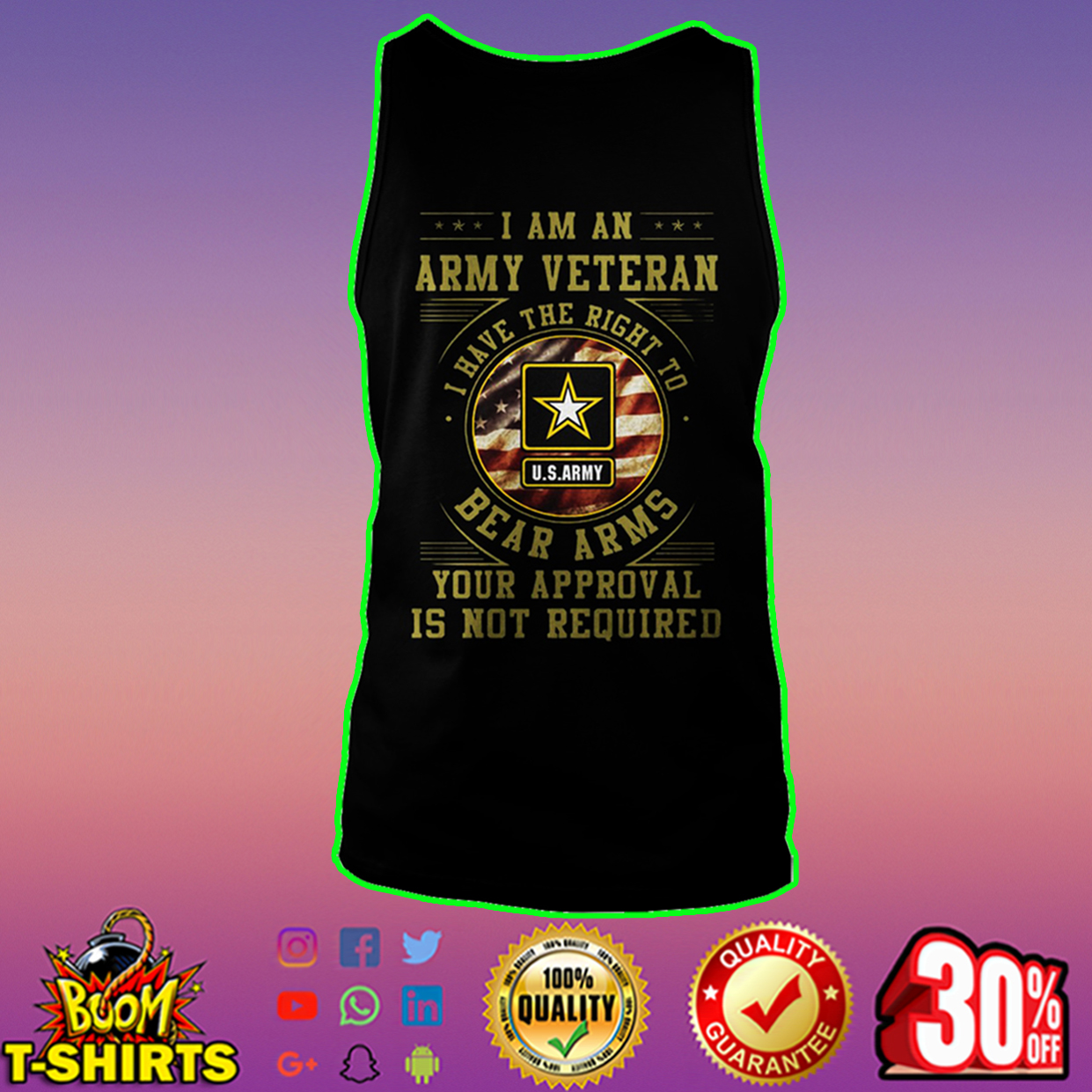 US Army I am an army veteran I have the right to bear arms tank top