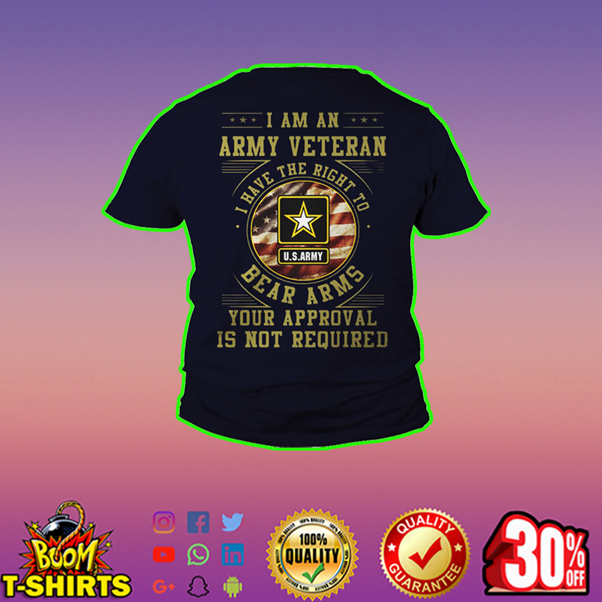 US Army I am an army veteran I have the right to bear arms youth tee