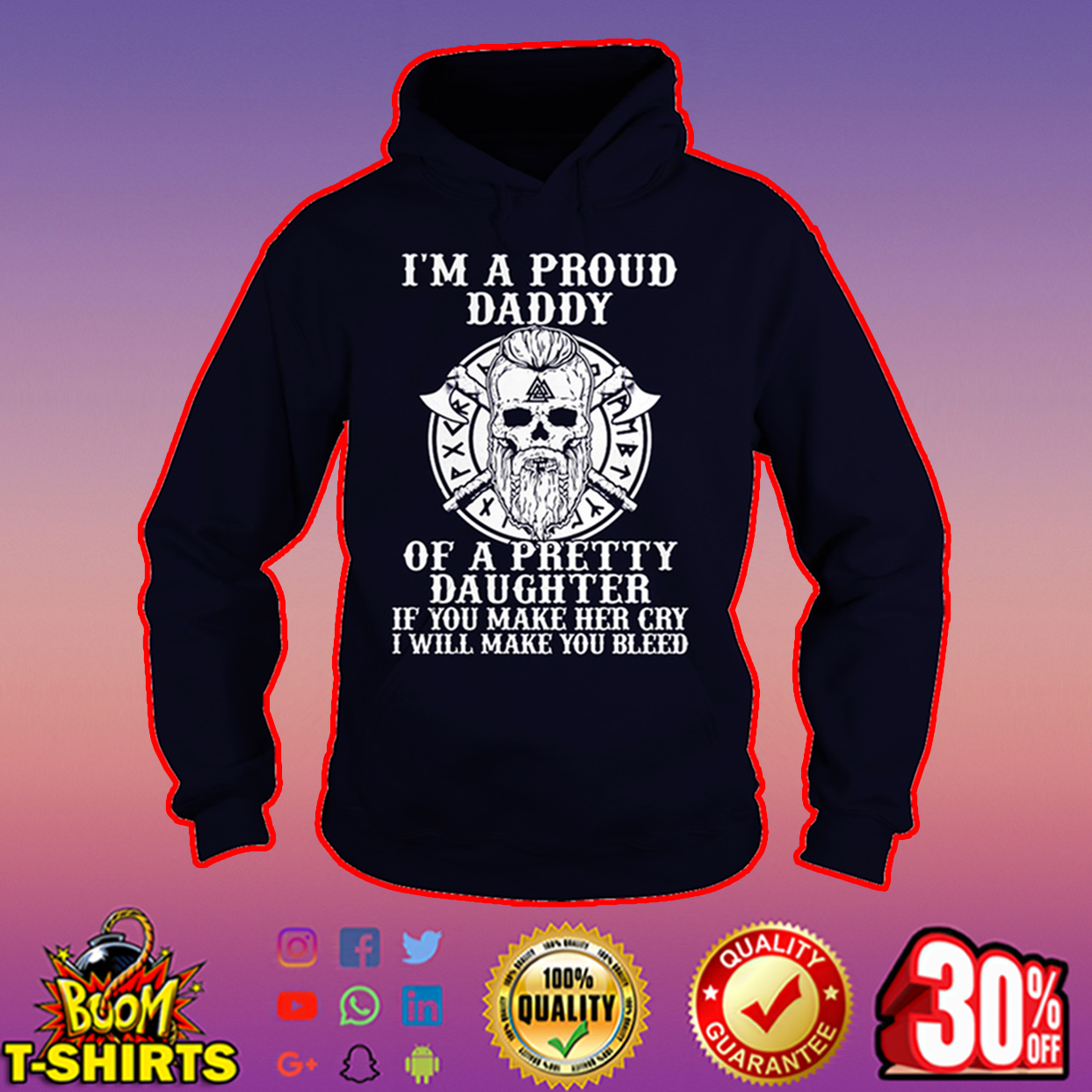 Viking I'm a proud daddy of a pretty daughter hoodie