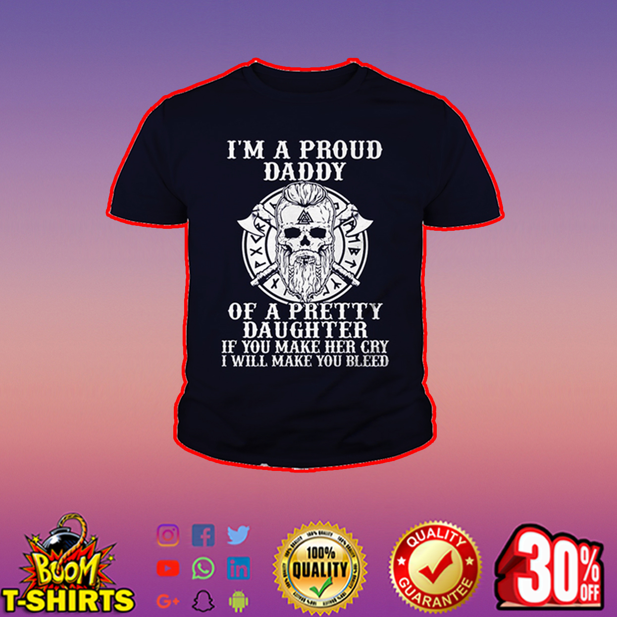 Viking I'm a proud daddy of a pretty daughter youth tee