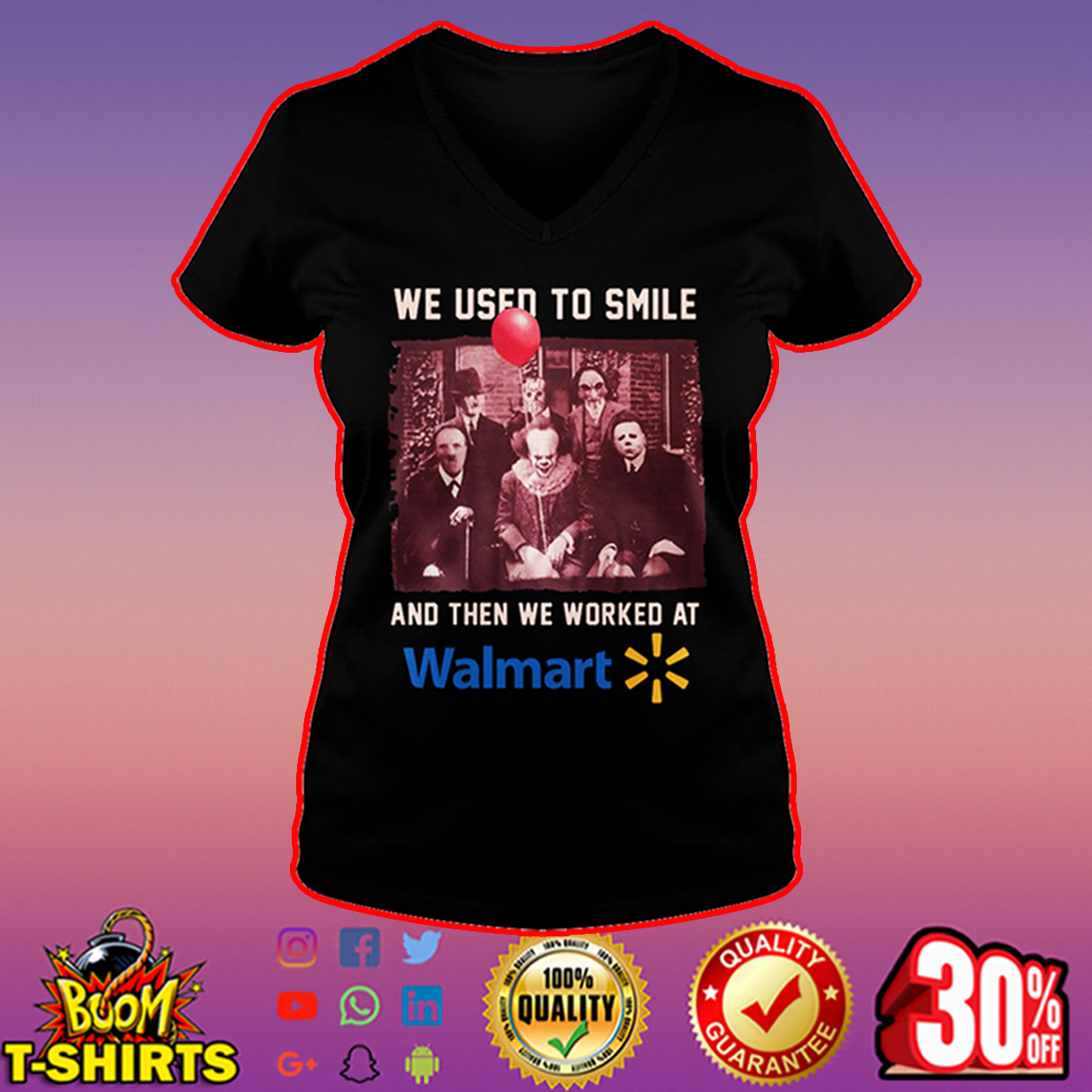 Walmart Pennywise Hannibal Lecter Michael Myers Freddy Krueger Jason Voorhees Billy we used to smile v-neck