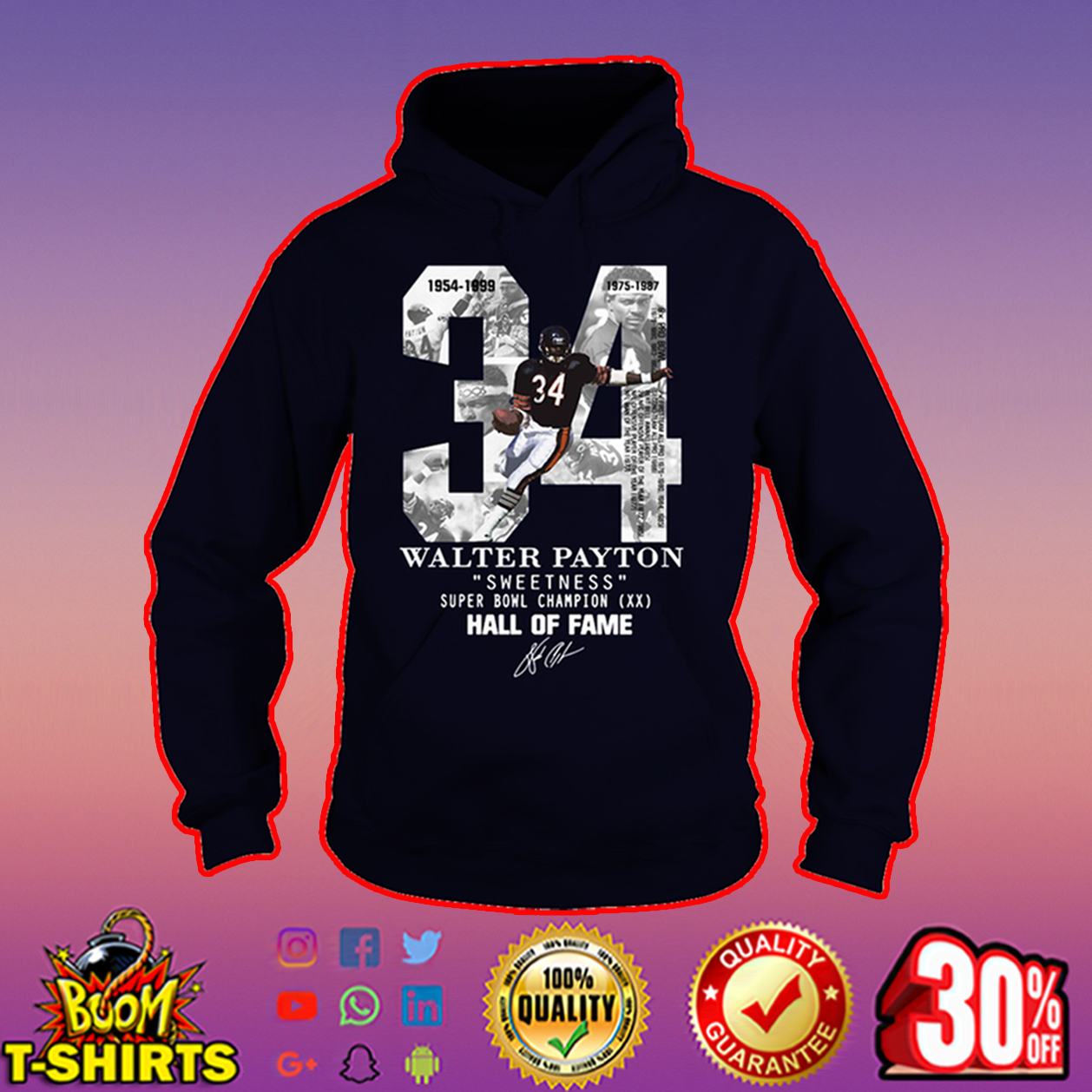 newest collection d9b28 bb08e Walter Payton Sweetness Super Bowl Champion Hall of fame signature shirt,  hoodie, tank top