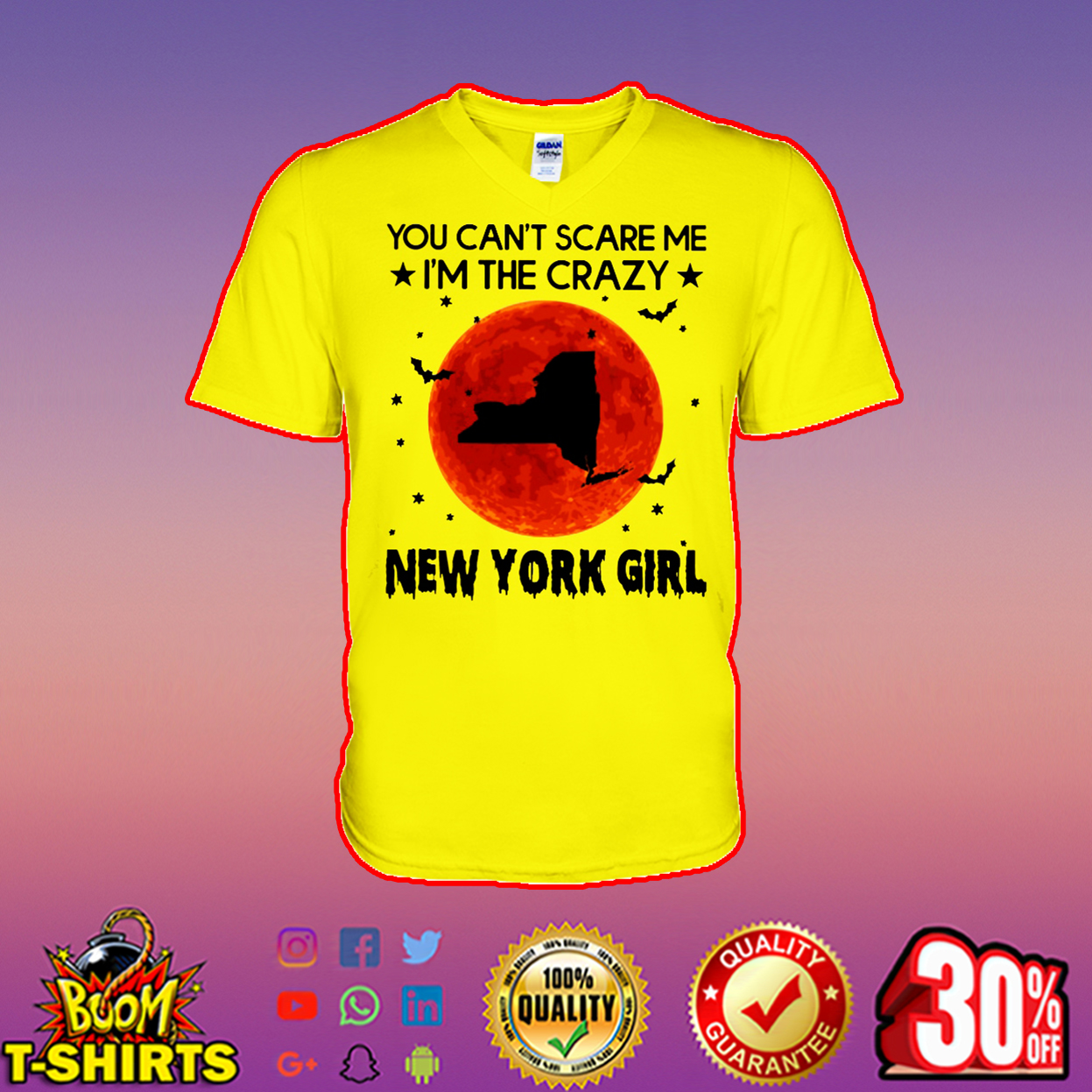 You can't scare me I'm the crazy New York girl v-neck