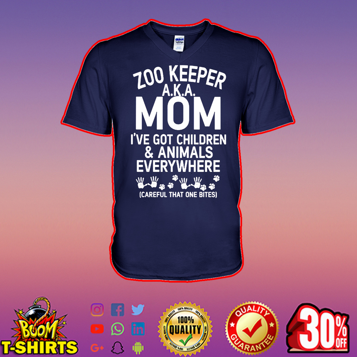 Zoo keeper AKA mom I've got children and animals everywhere v-neck