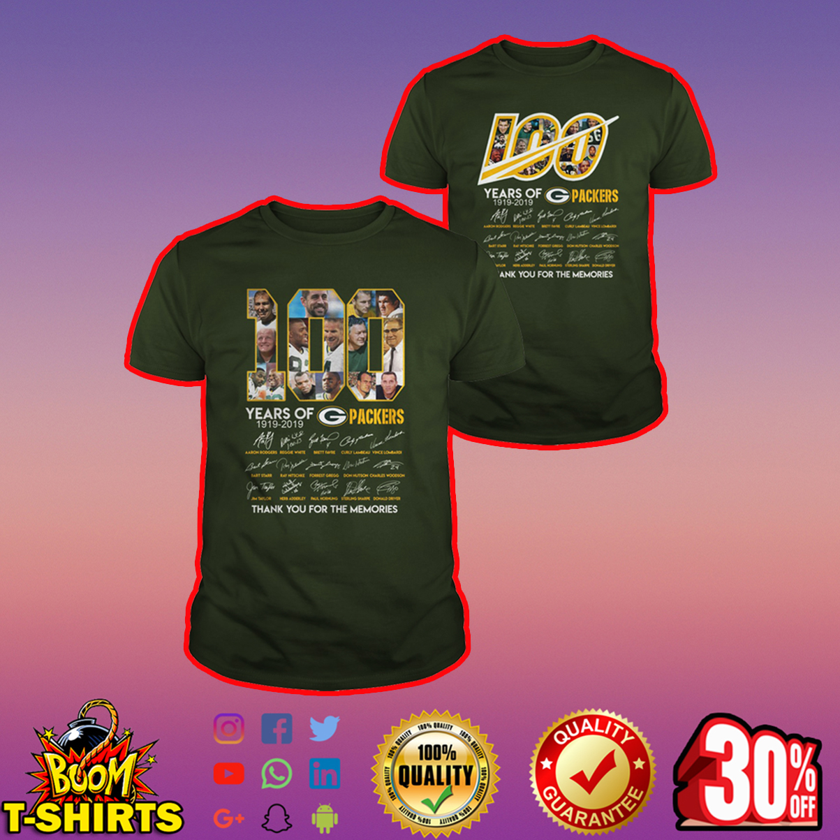 100 years of green bay packers thank you for the memories shirt