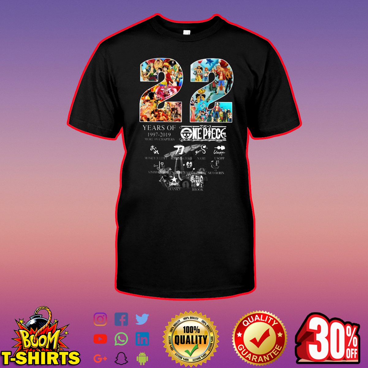 22 Years Of One Piece 1997 2019 shirt