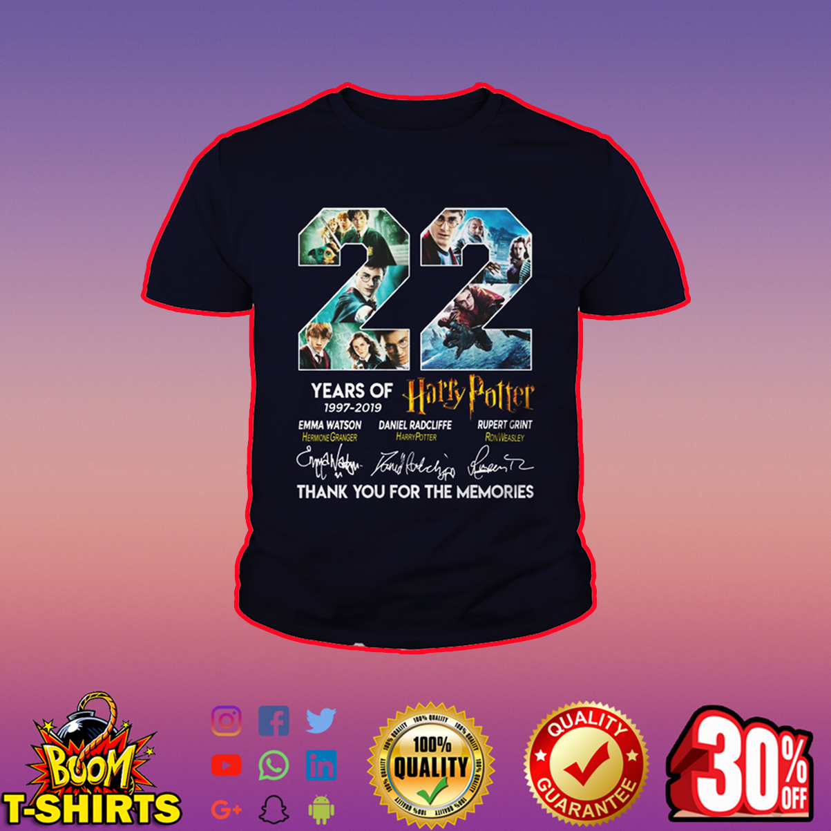 22 years of Harry Potter thank you for the memories youth tee