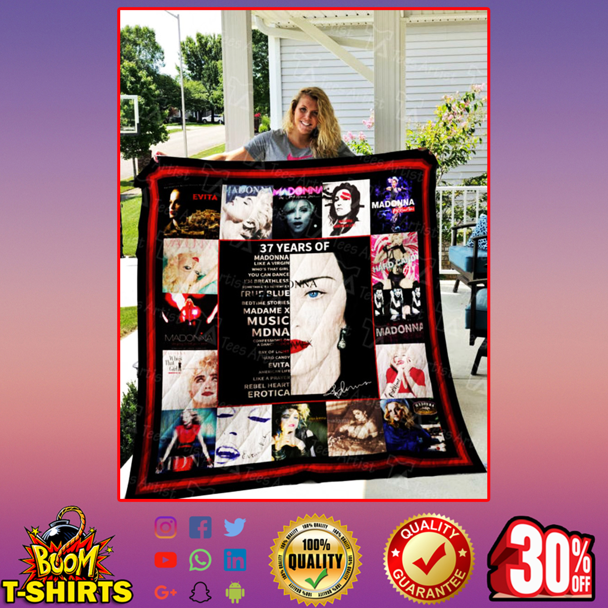 37 years of Madonna quilt blanket - king (80x90 inches)
