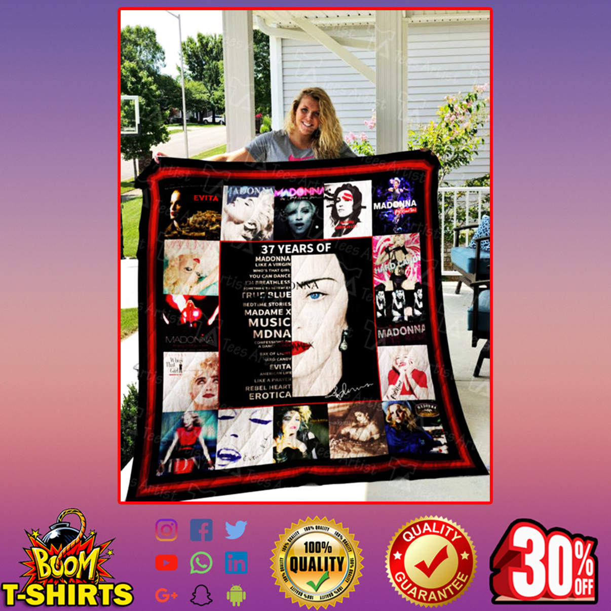 37 years of Madonna quilt blanket - twin (60x70 inches)