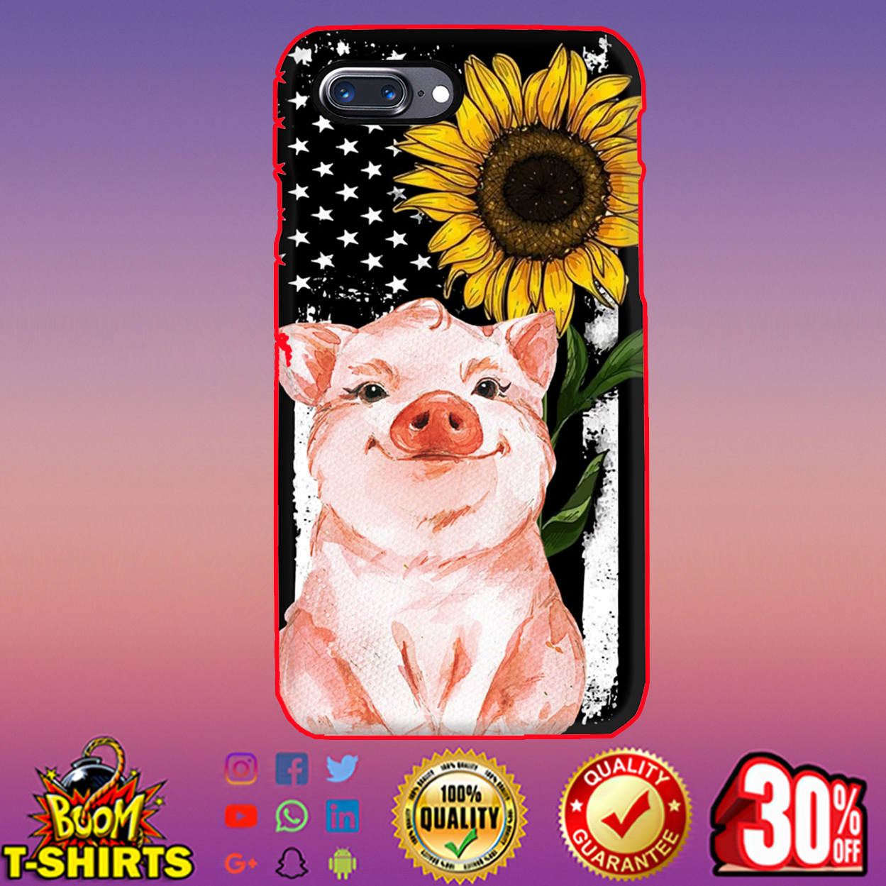 American Flag Sunflower Pig Phone Case - Iphone 7 plus case