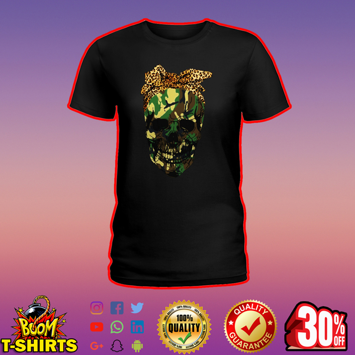 Camo lady skull shirt