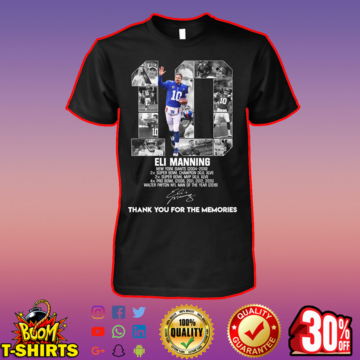 Eli Manning thank you for the memories shirt