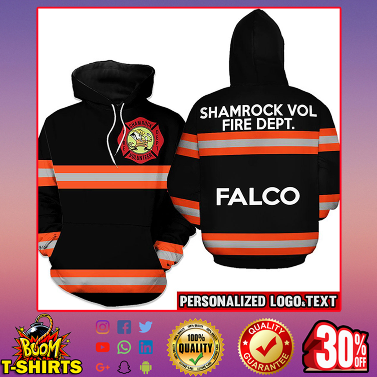 Firefighter Shamrock Volunteer Fire Dept. Falco Hoodie 3d - orange line - black