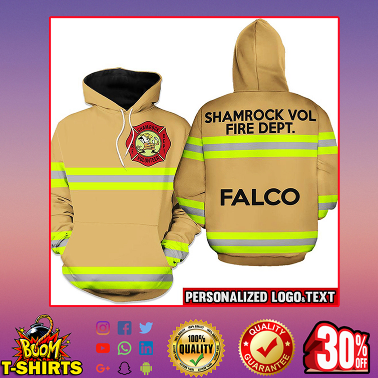Firefighter Shamrock Volunteer Fire Dept. Falco Hoodie 3d