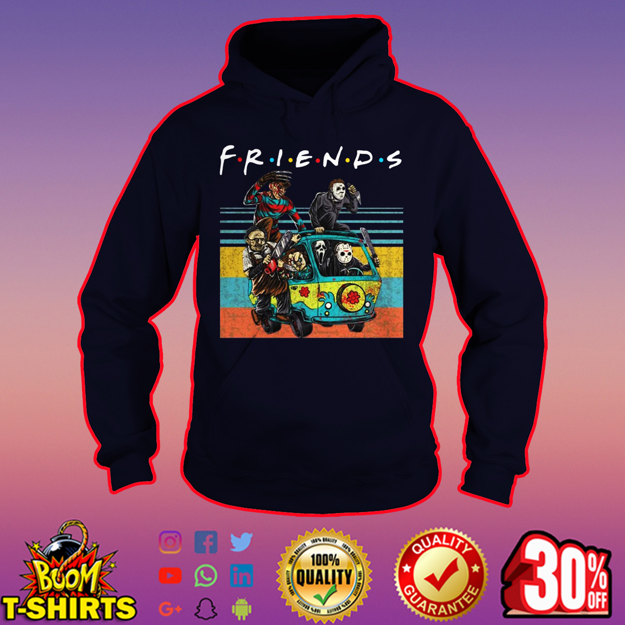 Friends Horror Movie Characters in Car hoodie