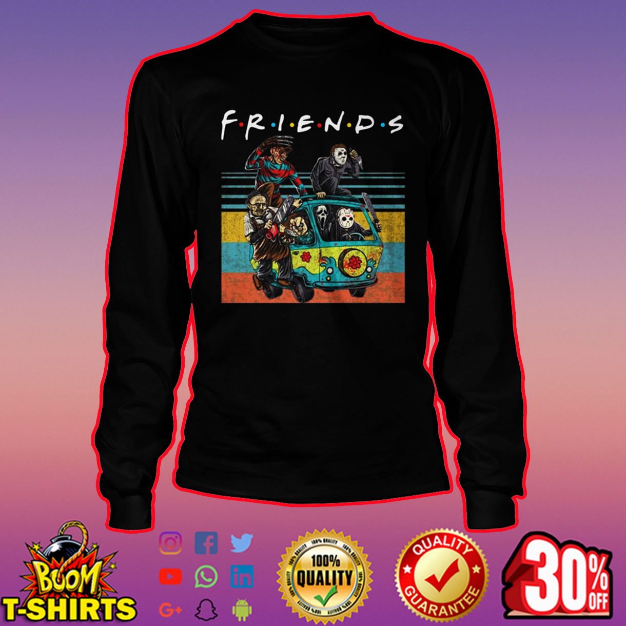 Friends Horror Movie Characters in Car long sleeve tee