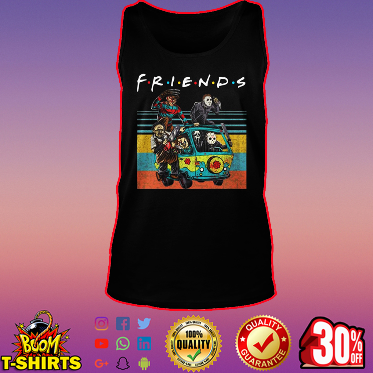 Friends Horror Movie Characters in Car tank top