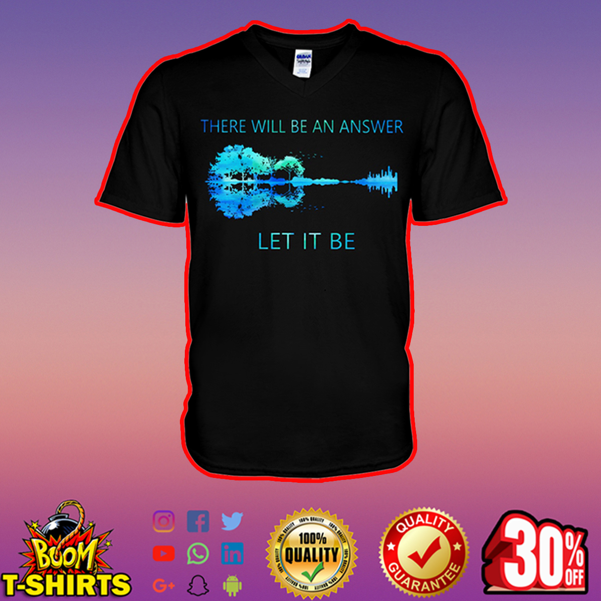 Guitar There Will Be An Answer Let It Be Nature v-neck