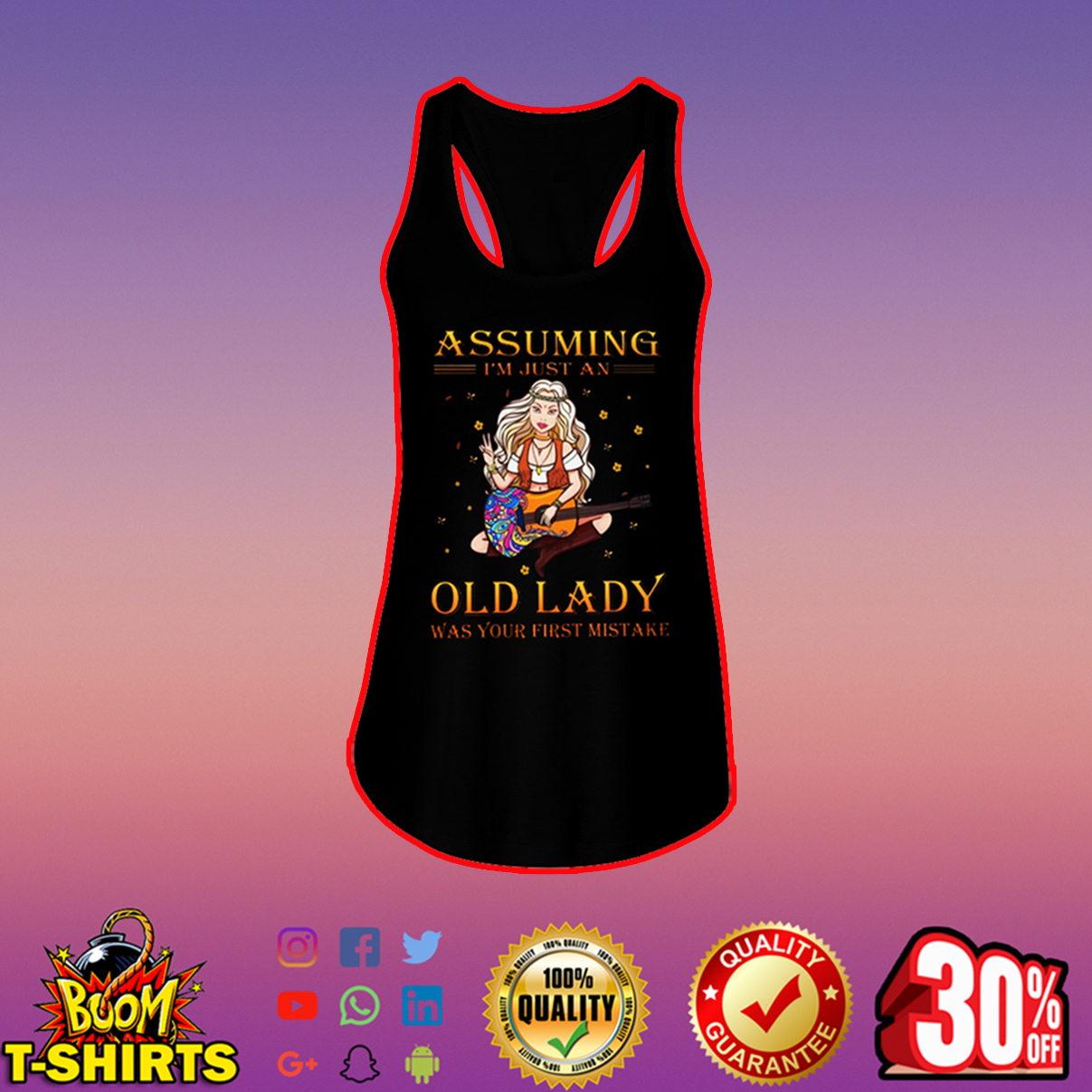 Guitar girl assuming I'm just an old lady was your first mistake flowy tank