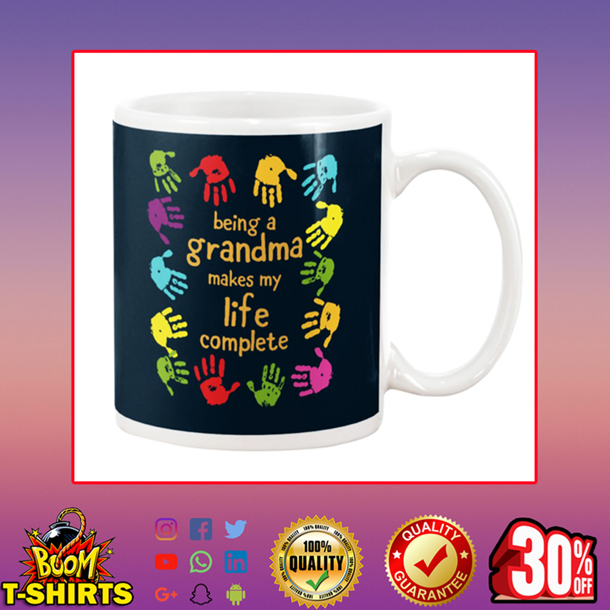Handprint Being a grandma makes my life complete mug - navy