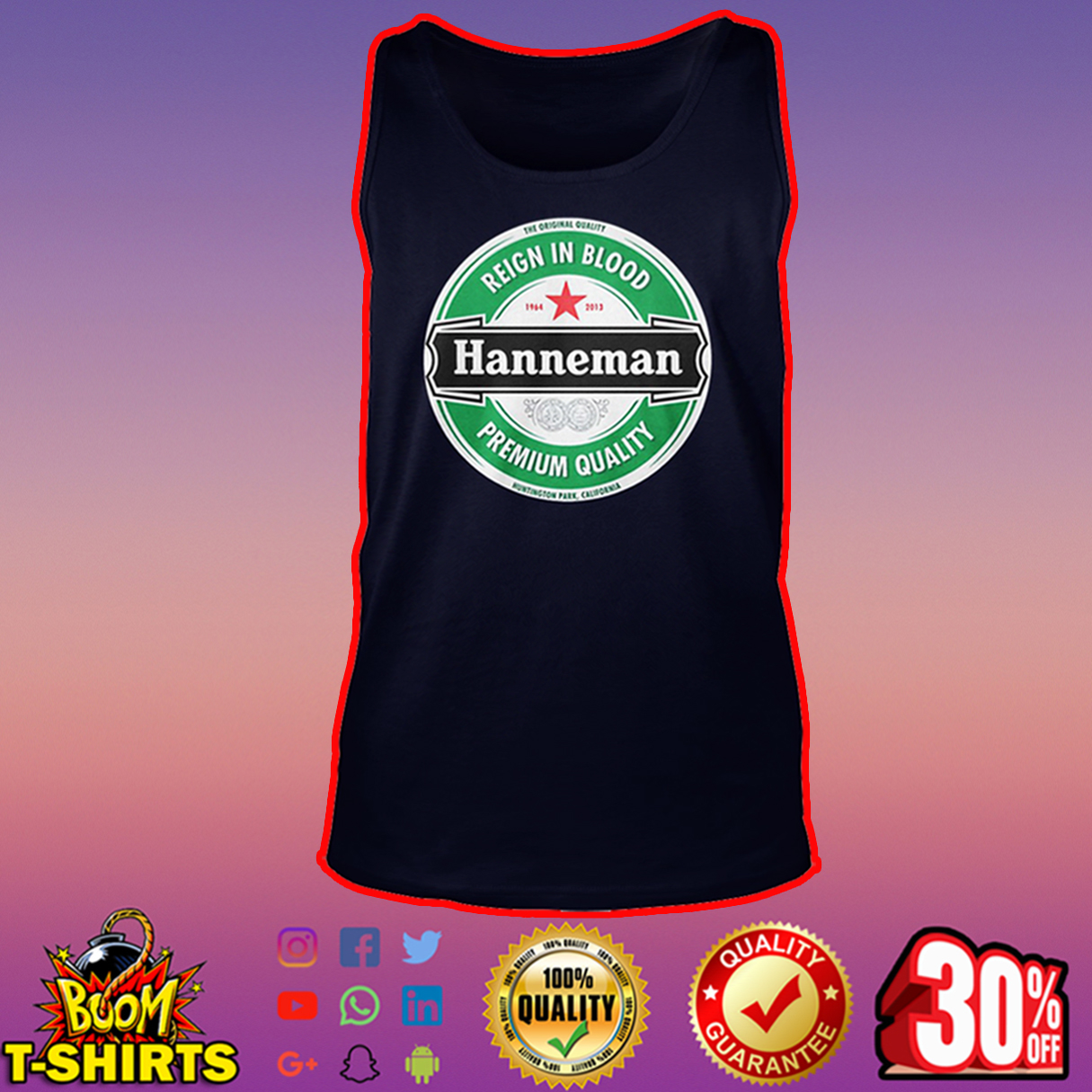 Hanneman reign in blood premium quality tank top
