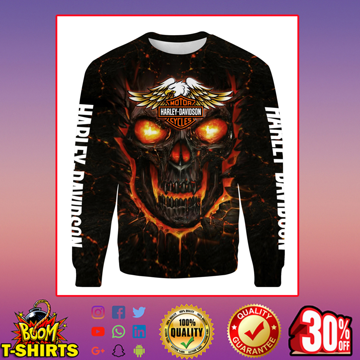 Harley-Davidson Skull Sweatshirt 3d