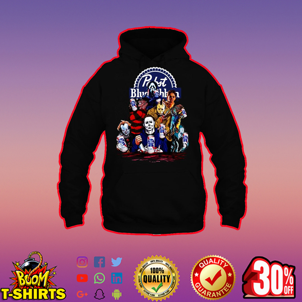 Horor Movie Characters Pabst Blue Ribbon hoodie