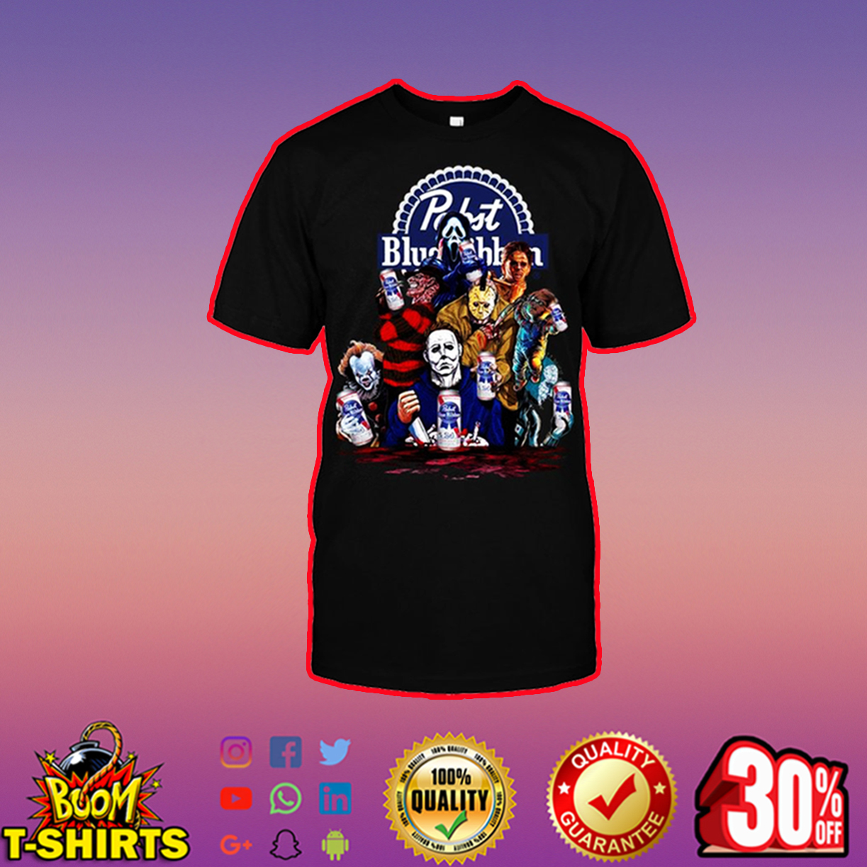 Horor Movie Characters Pabst Blue Ribbon shirt