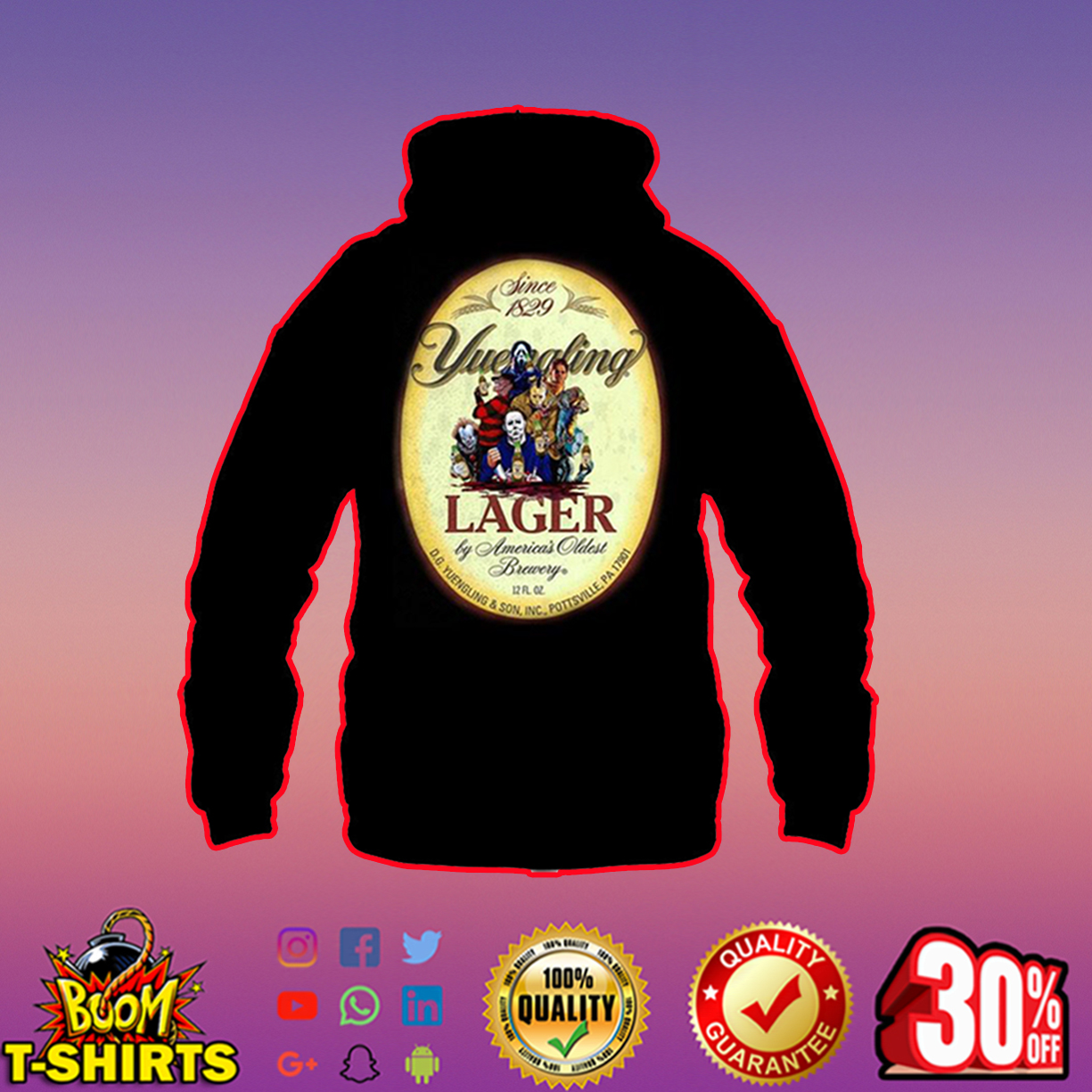 Horor Movie Characters Yuengling Lager hoodie