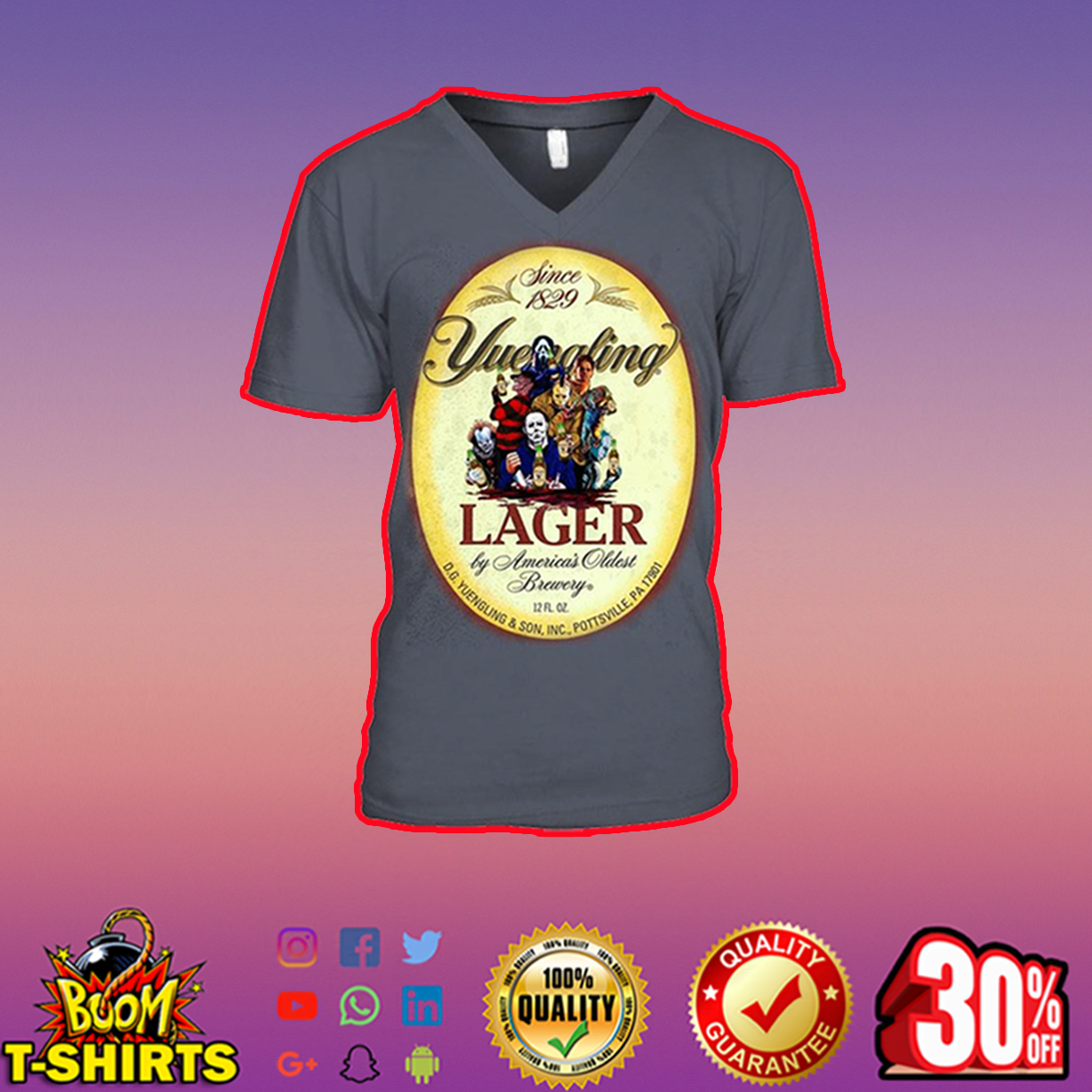 Horor Movie Characters Yuengling Lager v-neck