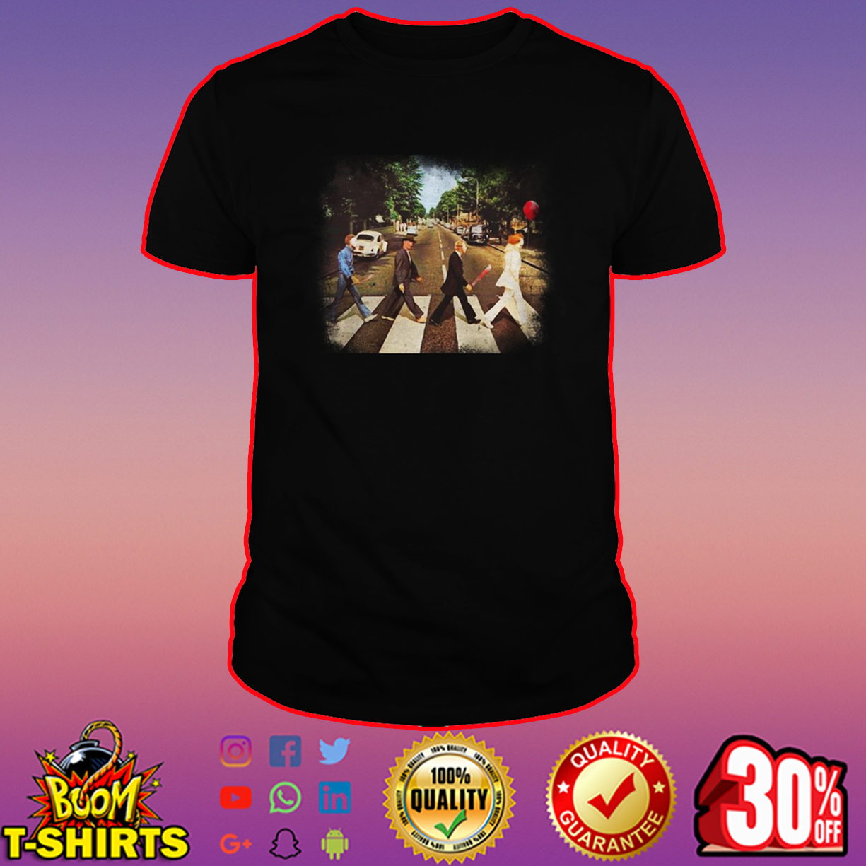 Horror movie characters abbey road shirt