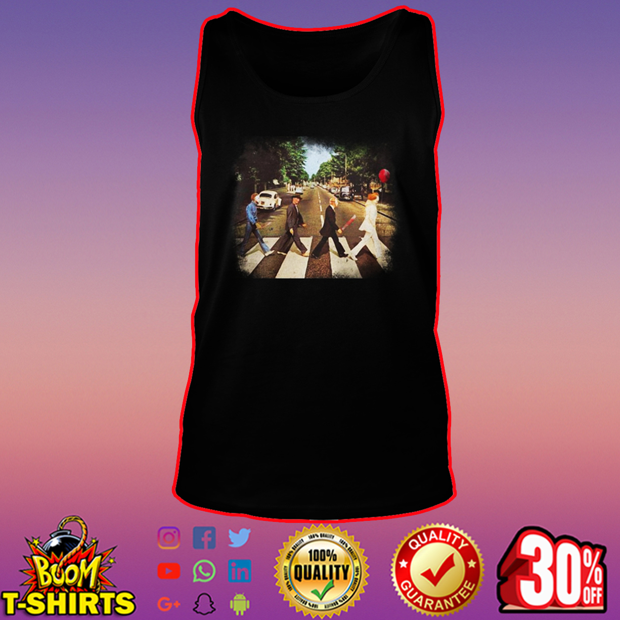 Horror movie characters abbey road tank top