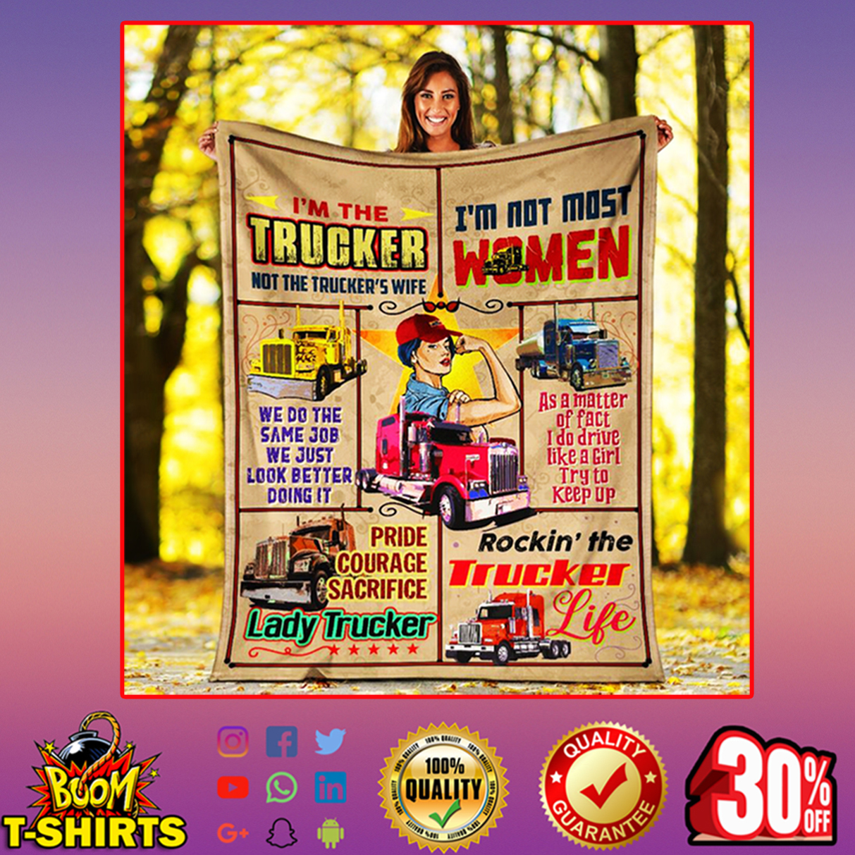 I'm the trucker not the trucker's wife lady trucker quilt blanket - picture 2