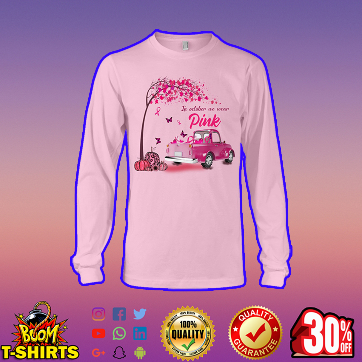 In October We Wear Pink Butterfly Tree Truck long sleeve tee