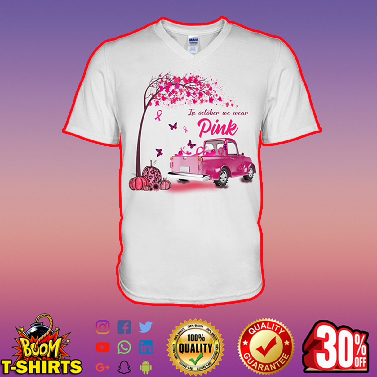 In October We Wear Pink Butterfly Tree Truck v-neck