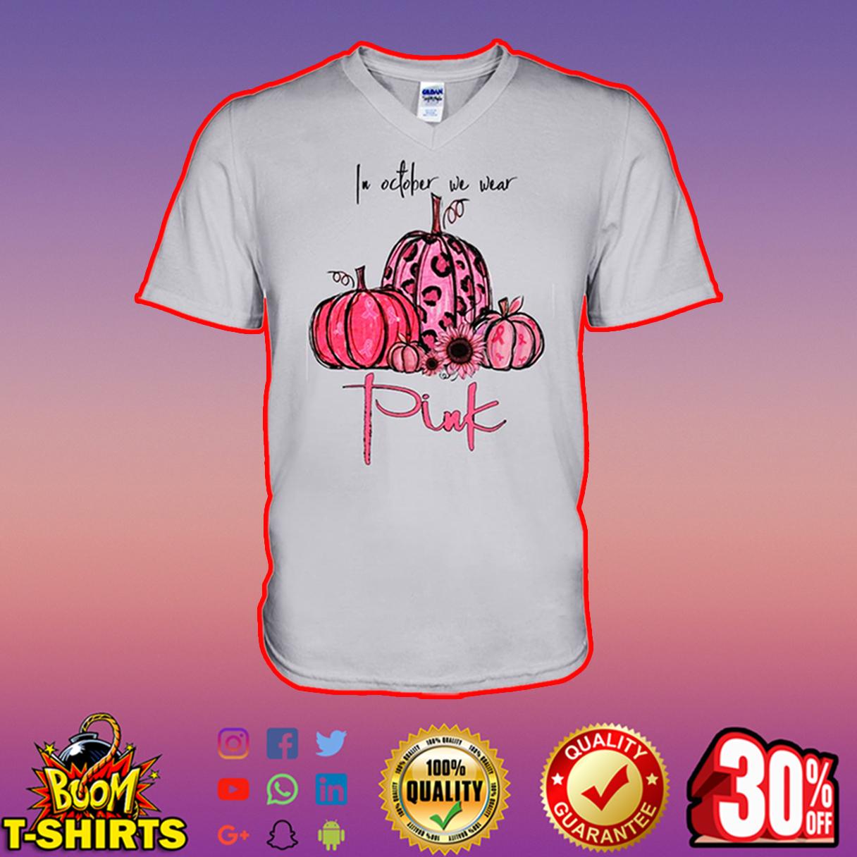 In october we wear pink v-neck