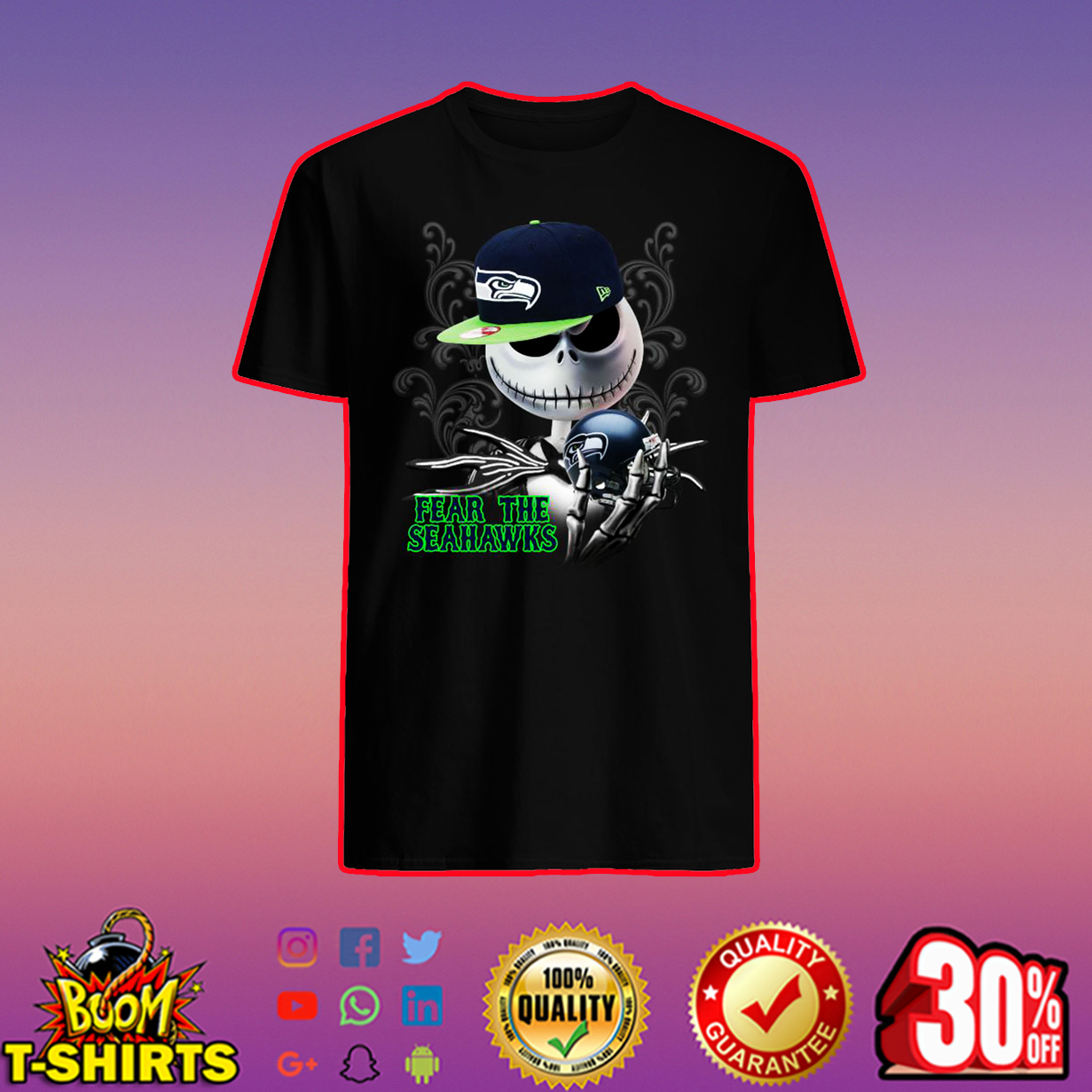 Jack Skellington Fear The Seahawks shirt