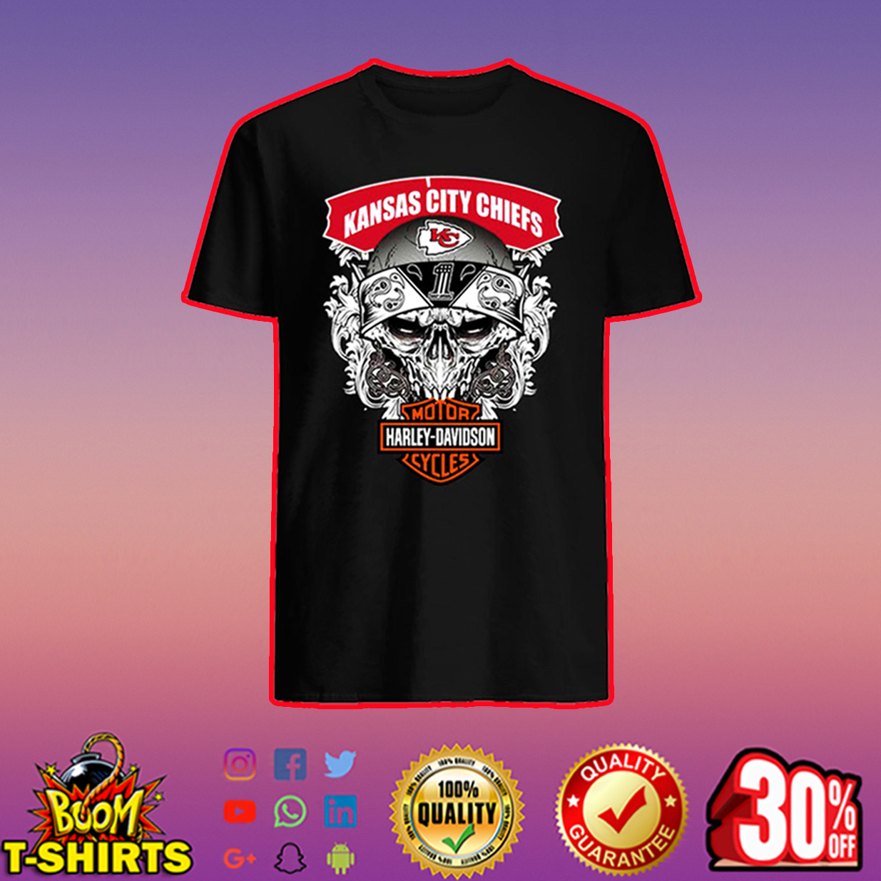 Kansas City Chiefs Harley-Davidson Skull shirt