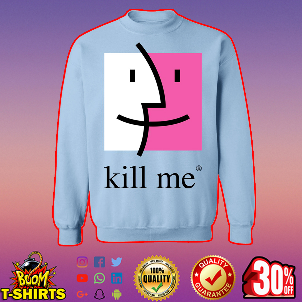Kill me finder crewneck sweatshirt - light blue