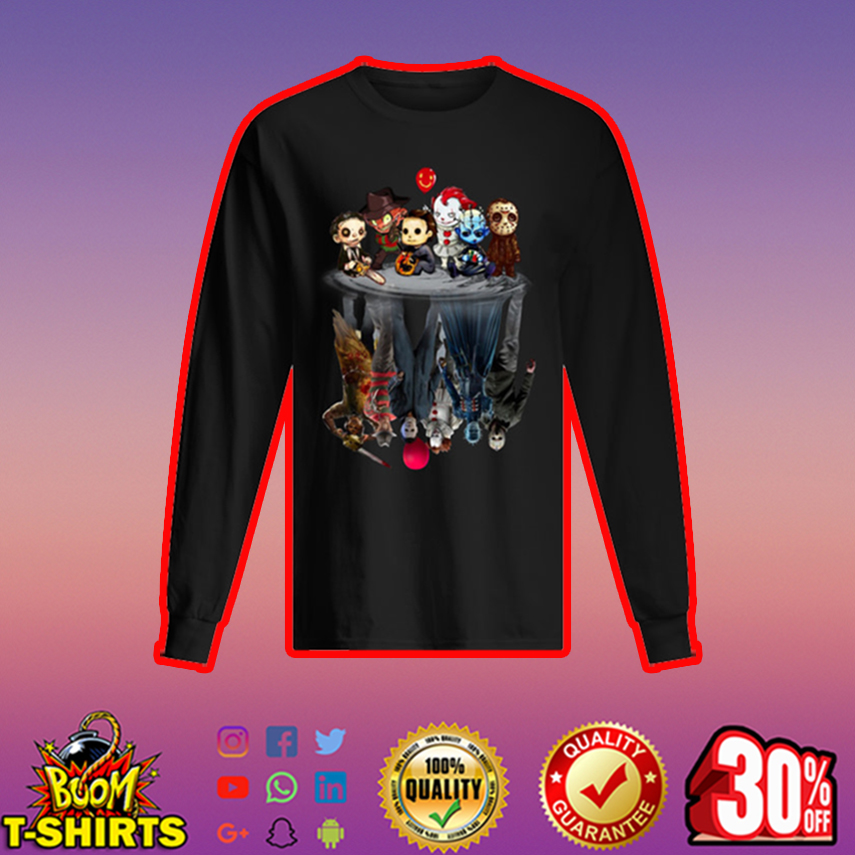 Leatherface Freddy Krueger Michael Myers Pennywise Pinhead Jason Voorhees reflection long sleeved t-shirt