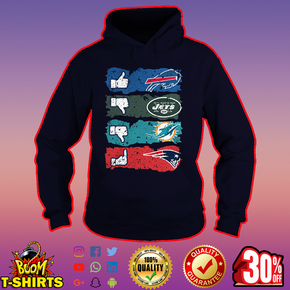 Like Bills dislike Jets Miami Dolphins fuck Patriots hoodie