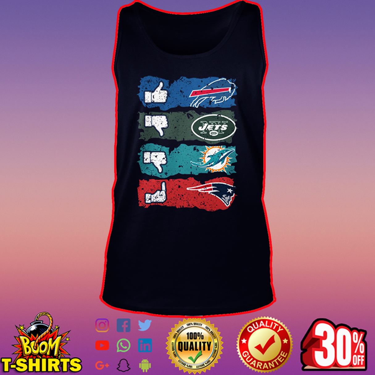 Like Bills dislike Jets Miami Dolphins fuck Patriots tank top
