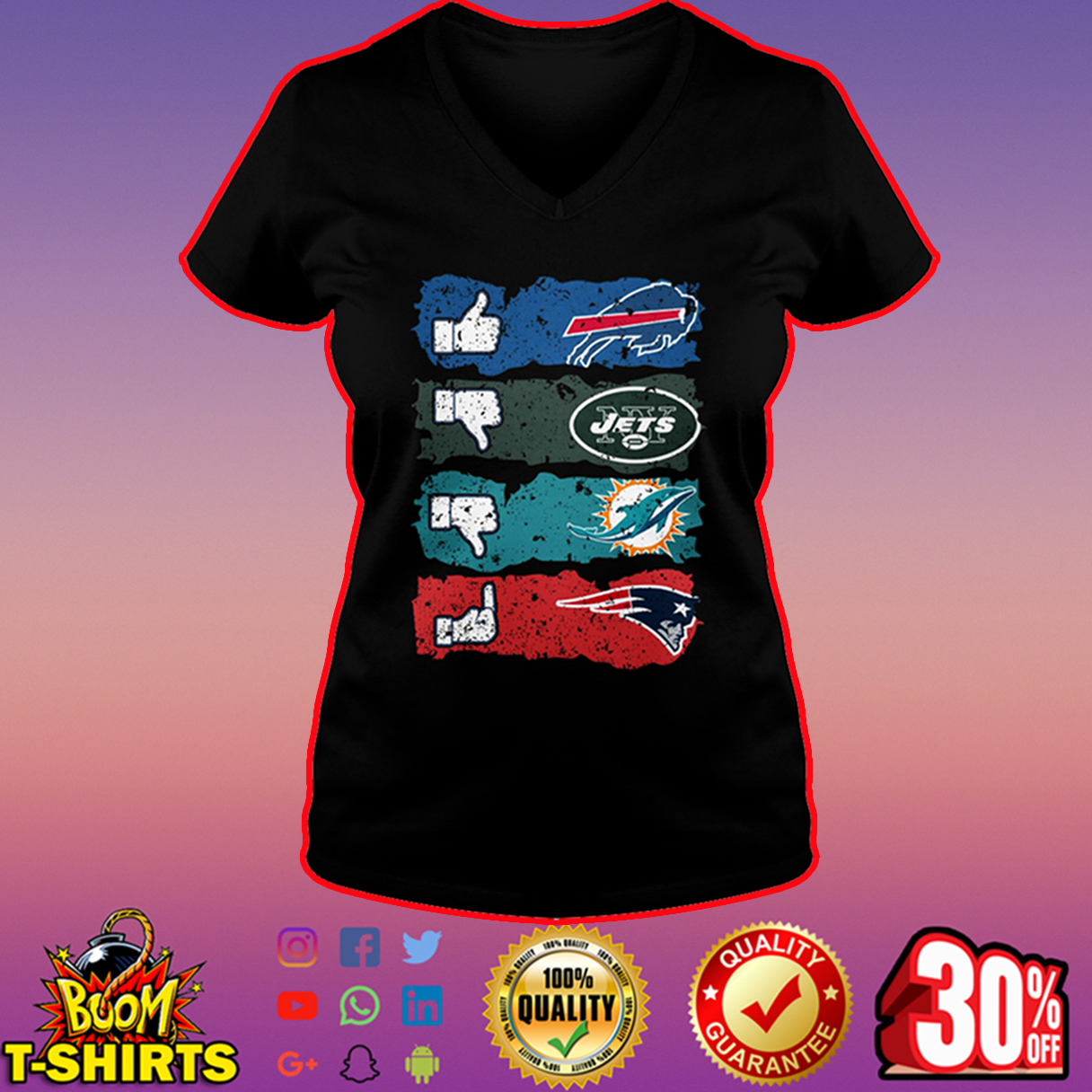 Like Bills dislike Jets Miami Dolphins fuck Patriots v-neck